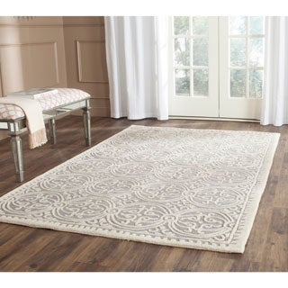 Safavieh Contemporary Handmade Moroccan Cambridge Silver/ Ivory Wool Rug (11' x 15')