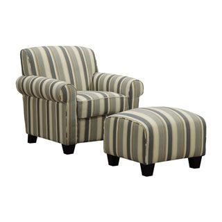 Portfolio Mira Coastal Blue Stripe Arm Chair and Ottoman