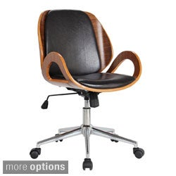 'Rika' Stained Bentwood Upholstered Desk Chair