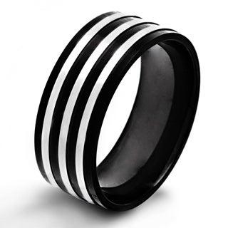 Black-plated Stainless Steel Triple Stripe Flat Ring
