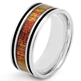 Stainless Steel Men's Wood Inlay and Black Enamel Stripe Ring