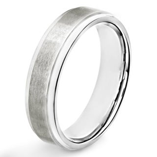 Titanium Brushed and Polished Ridged Band Ring