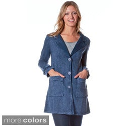 AtoZ Women's Antique Wash Denim Button-front Jacket