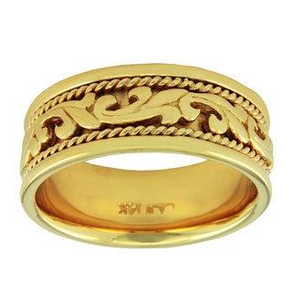 14k Yellow Gold Women's Comfort Fit Handmade Leaf Wedding Band