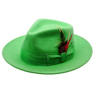 Ferrecci Men's Lime Green Fedora Hat