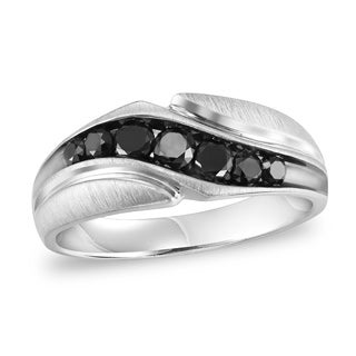 Cambridge Sterling Silver 4/5ct TDW 7-Stone Black Diamond Men's Ring