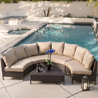 Christopher Knight Home Newton Outdoor 5-piece Dark Brown Wicker Lounge Set