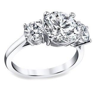 Platinum 3 1/2ct TDW Certified Round Diamond Engagement Ring (I, SI3)