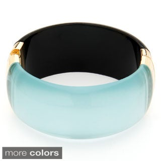 Alexa Starr Reflective Transparent Engraved Lucite Bangle Bracelet