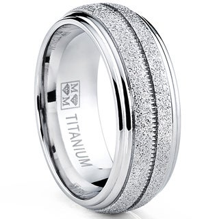 Oliveti Men's Brushed Titanium Comfort Fit Dome Band Ring