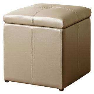 ABBYSON LIVING Grey Parker Storage Leather Tufted Ottoman