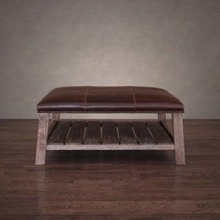 Antonio Vintage Tobacco Leather Coffee Table Ottoman