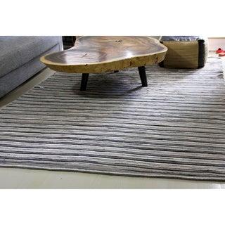 ARTAJUL Handmade Brown Ramble Retro/ Vintage Stripes Felt Patchwork Designer Rug (4'6 x 6'6)