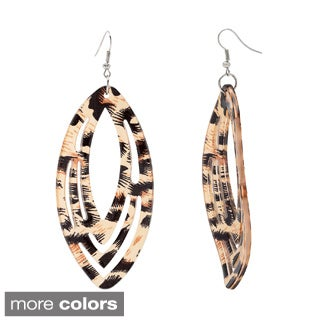 Alexa Starr Animal Print Cheetah Lucite Cutout Drop Earrings
