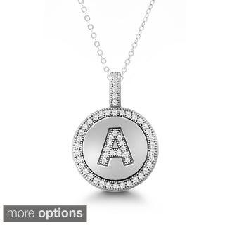 La Preciosa Sterling Silver Micro Pave Cubic Zirconia Initial Circle Pendant Necklace
