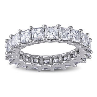 Miadora 18k White Gold 4ct TDW Certified Asscher Cut Diamond Eternity Ring (F-G, VS2-SI1)