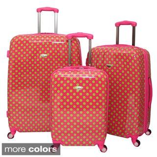 American Travel Polka Dot Expandable 3-piece Hardside Spinner Luggage Set