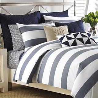 Nautica Lawndale Navy Cotton 3-piece Duvet Cover Set