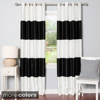 Lights Out Striped Dupioni Grommet Top Blackout Curtain Panel Pair