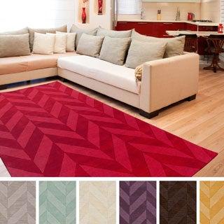 Artistic Weavers Hand-woven Ann Tone-on-Tone Geometric Zig-Zag Wool Area Rug (4' x 6')