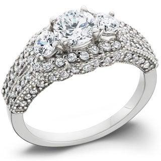 Bliss 14k White Gold 2 1/4ct TDW Pave Set Diamond Ring (G-H, I1-I2)