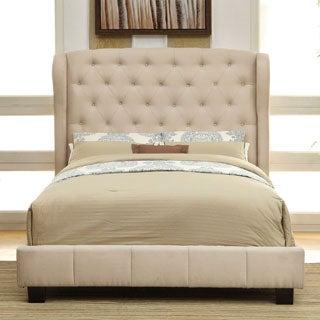 Furniture of America Draviosa Modern 2-Piece Flax Platform Bed with Nightstand Set