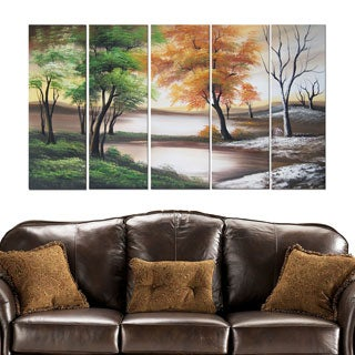 Winter to Summer' 5-piece Abstract Oil Painting