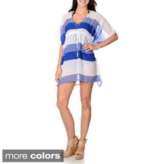 Club Z Women's Wide and Skinny Striped Beach Cover-up Poncho