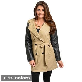 Stanzino Women's Two-tone Double Breasted Long Sleeve Coat