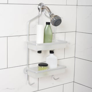 Zenna NeverRust Aluminum Frame Shower Caddy with Removable Plastic Shelves