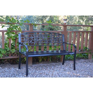 50-inch Flowers and Bird Curved Back Steel Park Bench