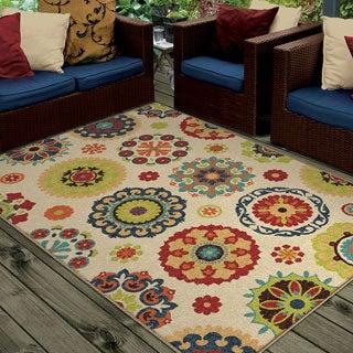 Promise Salsalito Geometric Beige Indoor/ Outdoor Rug (7'8 x 10'10)
