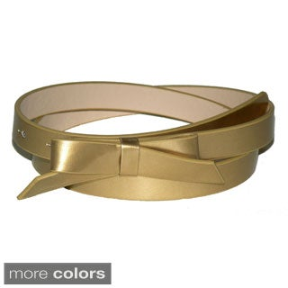 Patent Leather Skinny Bow Belt