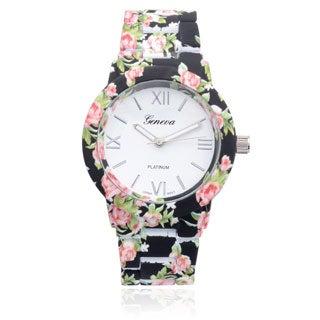 Geneva Platinum Floral Print Link Watch
