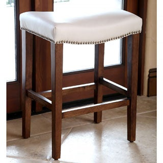 Monica Pedersen Ivory Leather Counter Stool by Abbyson Living