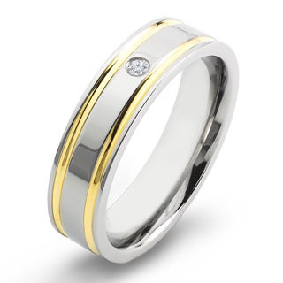 Crucible Gold Plated Titanium Diamond Accent Comfort Fit Wedding Band Ring