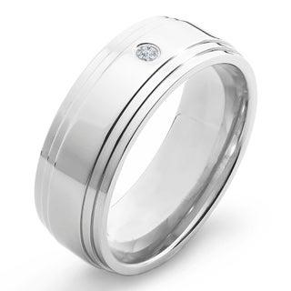 Crucible Titanium White Diamond Accent Polished Ridged Comfort Fit Band Ring