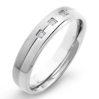 Crucible Titanium Diamond Accent Dual-finish Grooved Comfort Fit Ring (H-1, SI2)