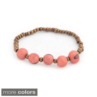 Sade Acai Seed and Glass Bead Stretch Bracelet (Bolivia)