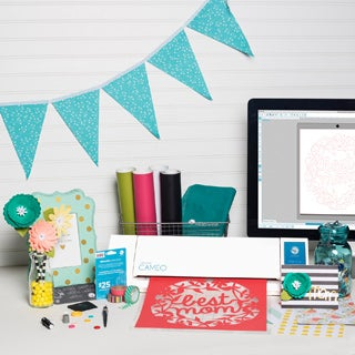 Silhouette Cameo Touch Screen Electronic Die Cutting Machine with Bonus Vinyl Starter Kit, $25 Gift Card and Accessories