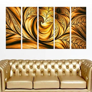 Abstract 'Golden Dream' 5-piece Gallery-wrapped Wall Print Art