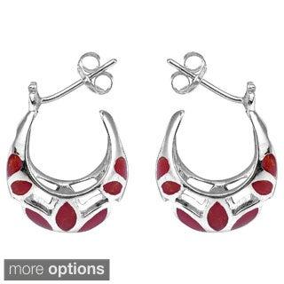 Mesmerizing Stone Embedded .925 Silver Half Hoop Earrings (Thailand)