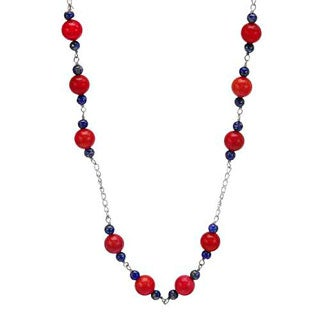 Sterling Silver Coral and Lapis Lazulis Beaded Necklace