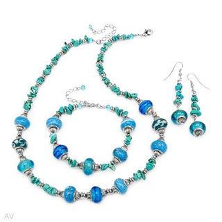 Glass Beads/ Turquoises Metal Jewelry Set