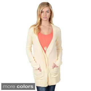 Journee Collection Women's Button-up Long Boyfriend Cardigan