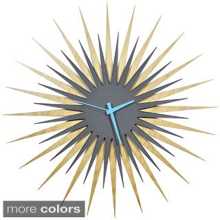 Modern Crowd RF Atomic Wall Clock in Maple and Grey