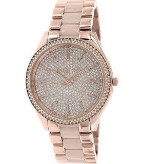 Michael Kors Women's MK4288 Slim Runway Pave-Embellished Stainless Steel Watch