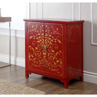 ABBYSON LIVING Antique Shanxi Hand Painted Red Side Cabinet