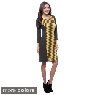 Spense Women's Long Sleeve Stripe Inset Dress