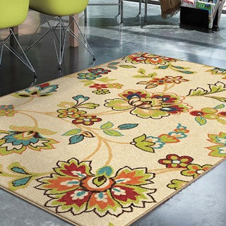 """Promise Collection Wakeley White Olefin Indoor/Outdoor Area Rug (5'2"""" x 7'6"""")"""